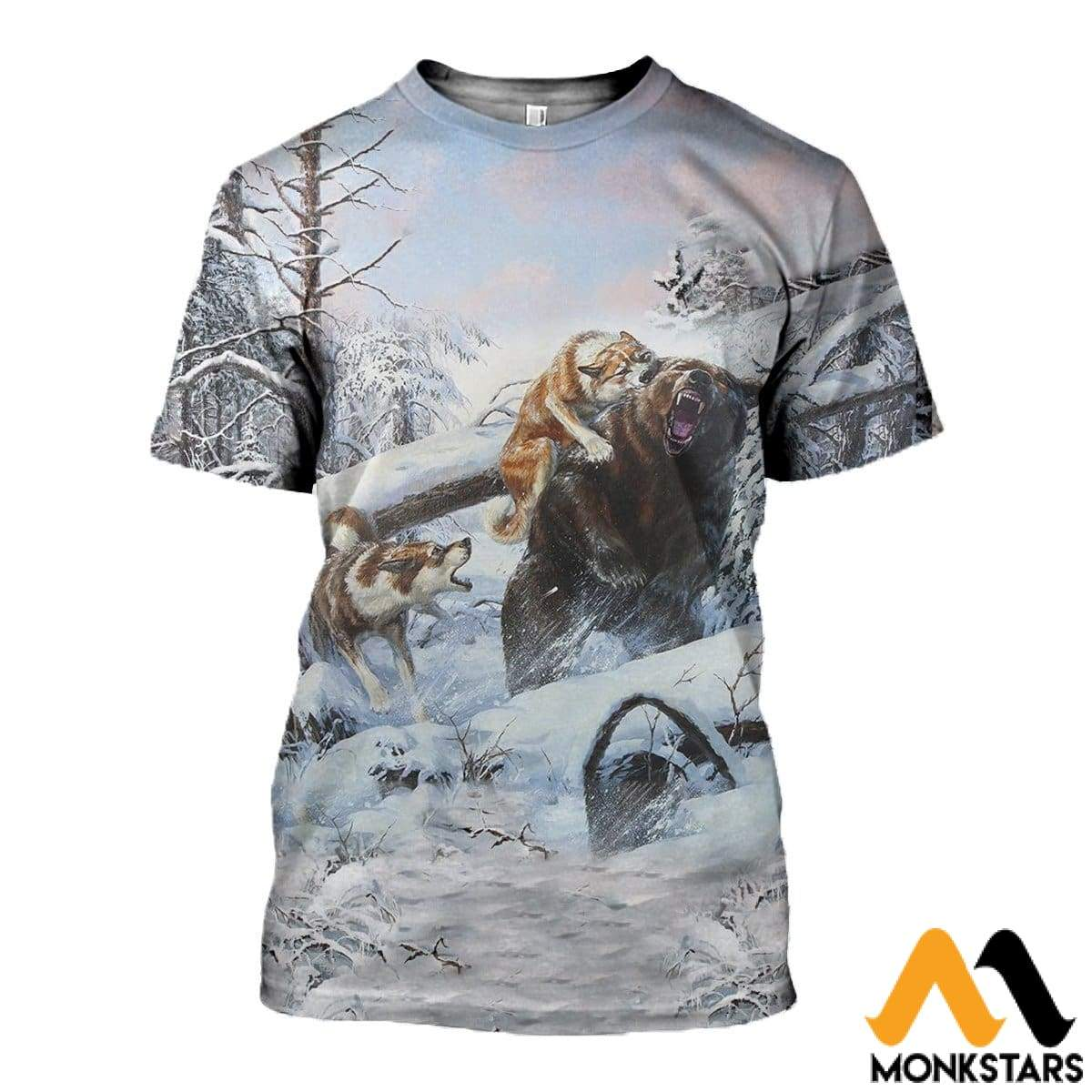3D All Over Printed Hunting Bears In Winter Shirts And Shorts T-Shirt / Xs Clothes