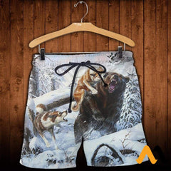 3D All Over Printed Hunting Bears In Winter Shirts And Shorts / Xs Clothes