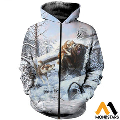 3D All Over Printed Hunting Bears In Winter Shirts And Shorts Zipped Hoodie / Xs Clothes