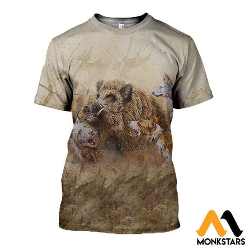 3D All Over Printed Hunting Boar Clothes T-Shirt / Xs
