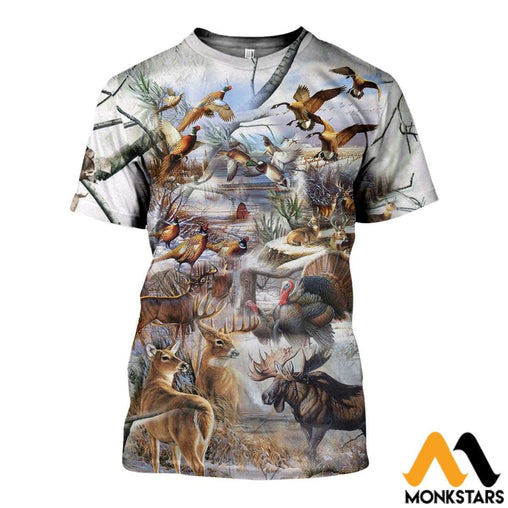 3D All Over Printed Hunting Camo In Winter Shirts And Shorts T-Shirt / Xs Clothes