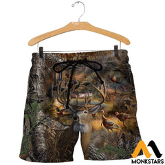 3D All Over Printed Hunting Camo Shirts And Shorts / Xs Clothes