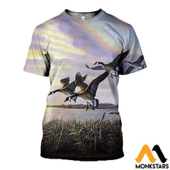 3D All Over Printed Hunting Canada Geese Shirts And Shorts T-Shirt / Xs Clothes