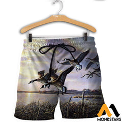 3D All Over Printed Hunting Canada Geese Shirts And Shorts / Xs Clothes