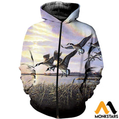 3D All Over Printed Hunting Canada Geese Shirts And Shorts Zipped Hoodie / Xs Clothes