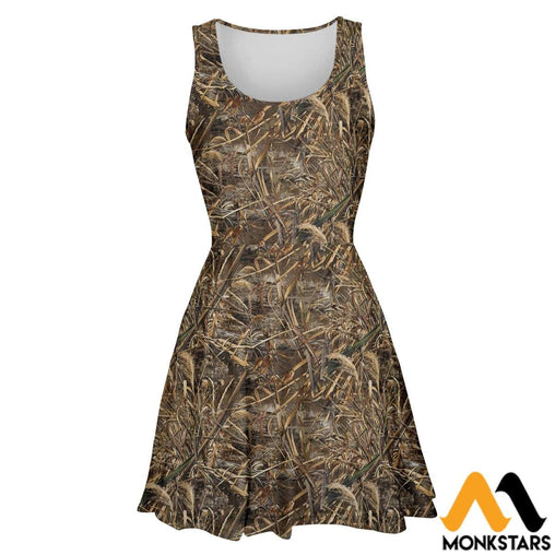3D All Over Printed Hunting Duck Camo Skater Dress