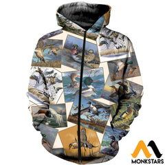 3D All Over Printed Hunting Duck Collection Shirts And Shorts Zipped Hoodie / Xs Clothes