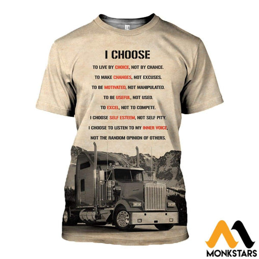 3D All Over Printed I Choose To Live By Choice Trucker Shirts And Shorts T-Shirt / Xs Clothes