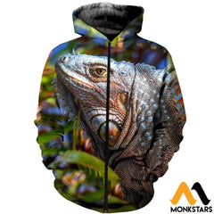 3D All Over Printed Iguana Lizard Clothes Zipped Hoodie / Xs