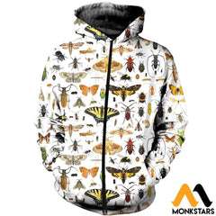 3D All Over Printed Insect Shirts And Shorts Zipped Hoodie / Xs Clothes