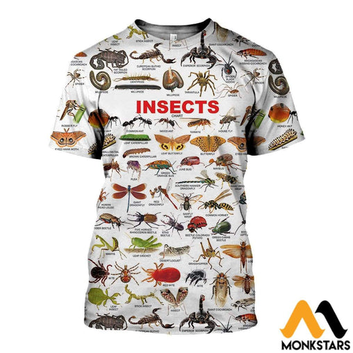 3D All Over Printed Insects Chart Shirts And Shorts T-Shirt / Xs Clothes