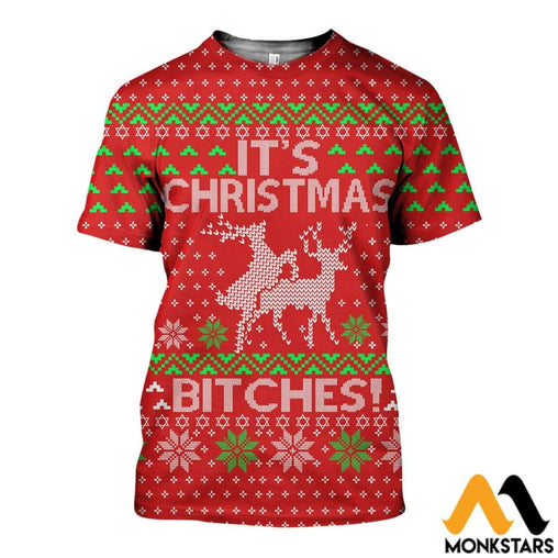 3D All Over Printed Its Christmas Ugly Shirts And Shorts T-Shirt / Xs Clothes