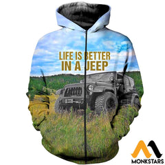 3D All Over Printed Jeep Clothes Zipped Hoodie / Xs