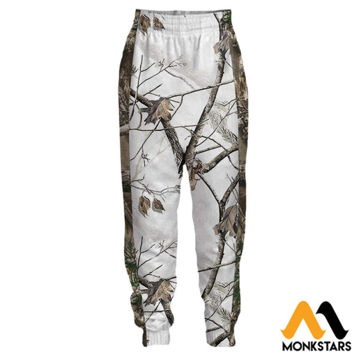 3D All Over Printed Joggers - Reel Tree Snow Camo S