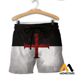 3D All Over Printed Knights Templar Flag Shirts And Shorts / Xs Clothes