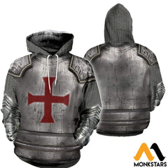 3D All Over Printed Knights Templar Tops Normal Hoodie / Xs Clothes