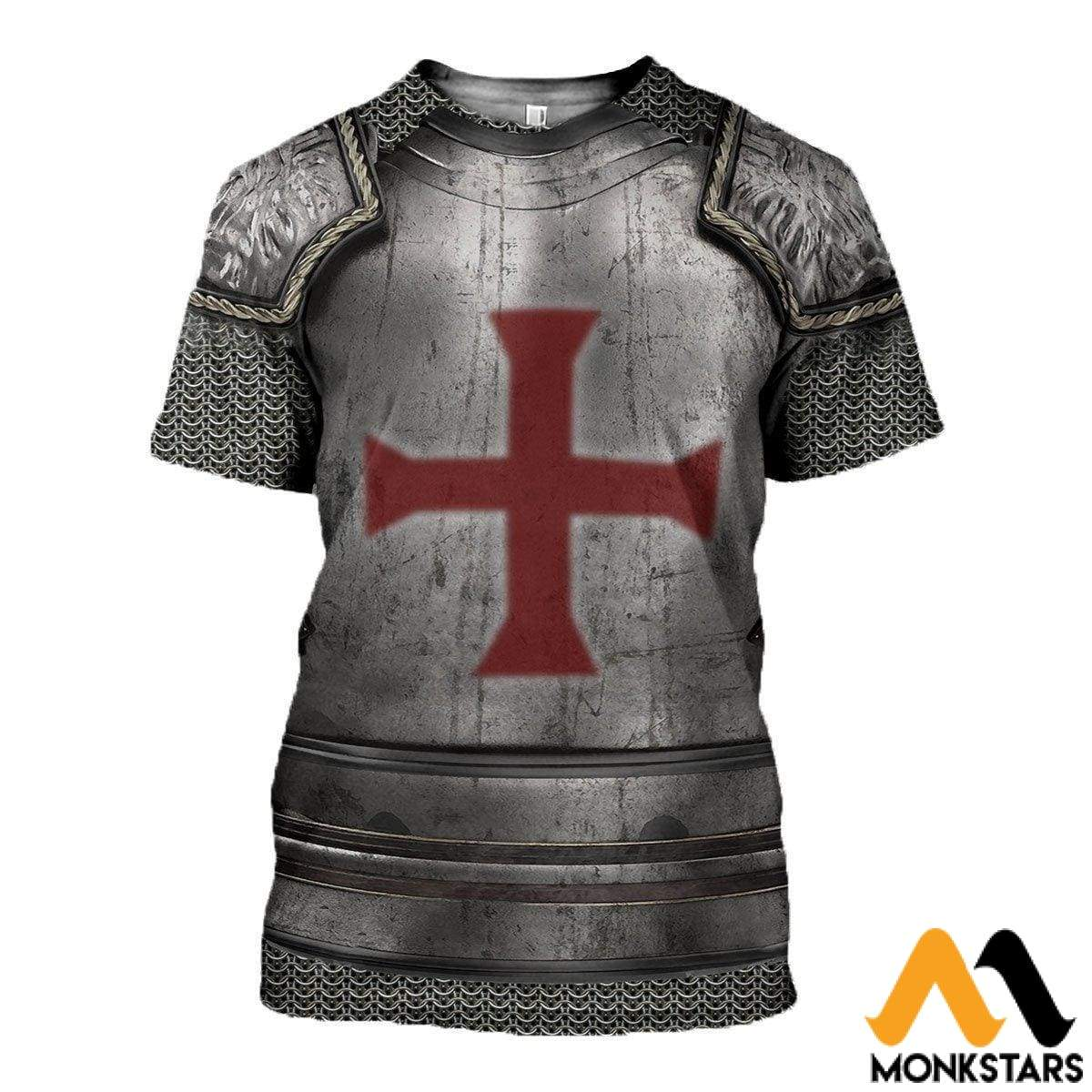 3D All Over Printed Knights Templar Tops T-Shirt / Xs Clothes