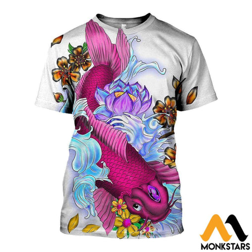 3D All Over Printed Koi Carp & Lotus Flower Clothes T-Shirt / Xs