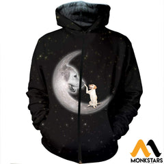 3D All Over Printed Labrador Retriever Moon Clothes Zipped Hoodie / Xs