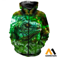 3D All Over Printed Lizard Shirts And Shorts Zipped Hoodie / Xs Clothes