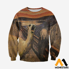 3D All Over Printed Llama The Scream Tops Long-Sleeved Shirt / Xs Clothes