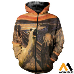 3D All Over Printed Llama The Scream Tops Zipped Hoodie / Xs Clothes