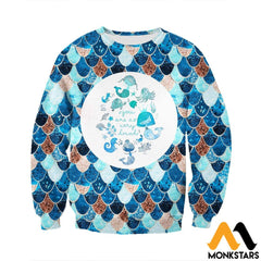 3D All Over Printed Lovely Mermaid Shirts And Shorts Long-Sleeved Shirt / Xs Clothes