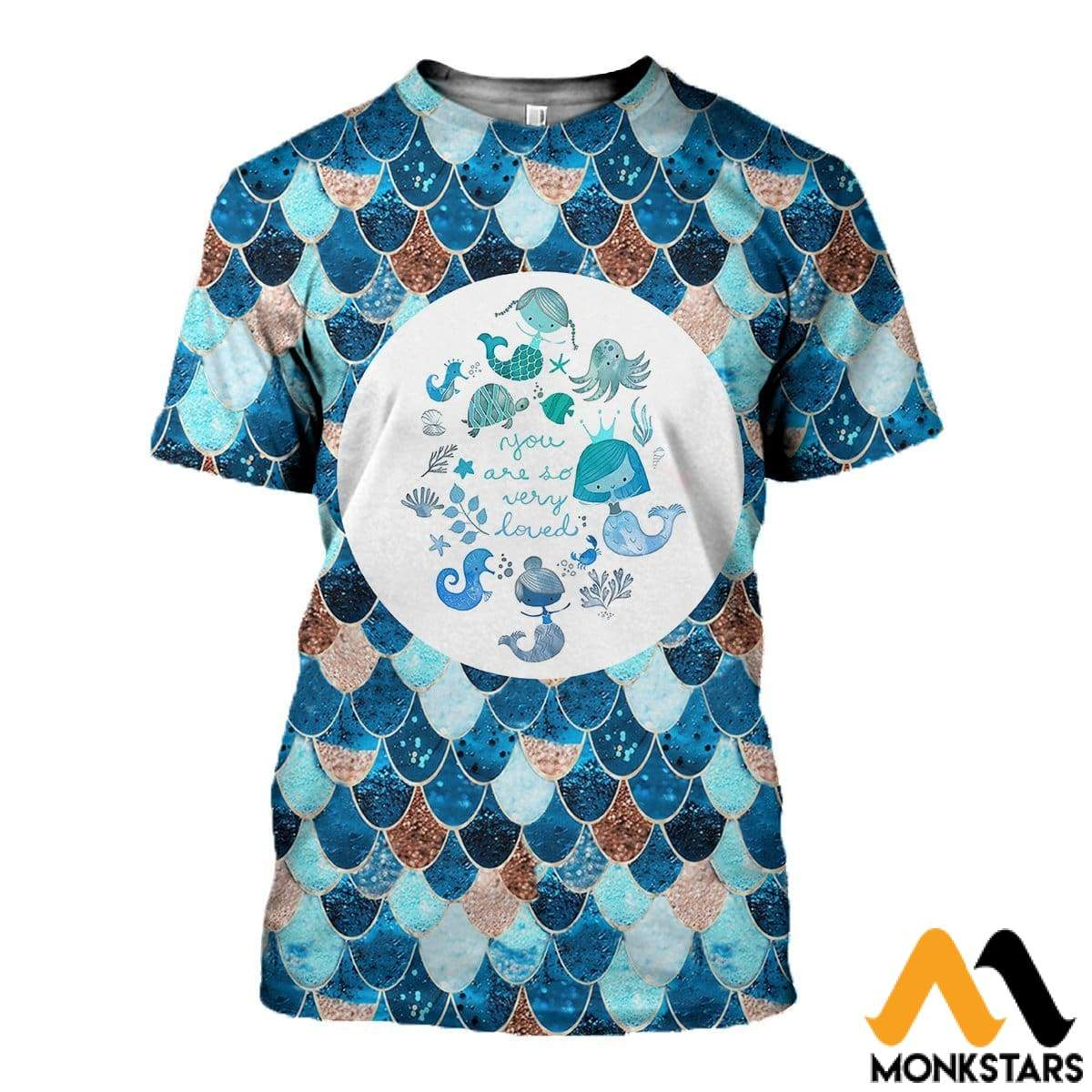 3D All Over Printed Lovely Mermaid Shirts And Shorts T-Shirt / Xs Clothes