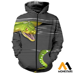 3D All Over Printed Magic Snake Shirts And Shorts Zipped Hoodie / Xs Clothes