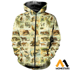 3D All Over Printed Mammals Shirts And Shorts Zipped Hoodie / Xs Clothes