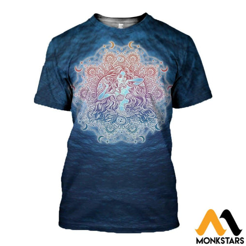 3D All Over Printed Mandala Mermaid Tapestry Shirts And Shorts T-Shirt / Xs Clothes
