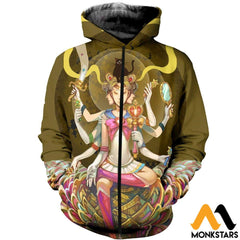 3D All Over Printed Mandala Moon Shirts Zipped Hoodie / Xs Clothes