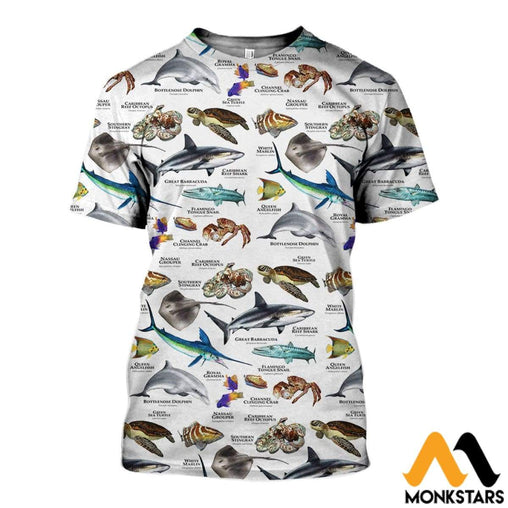 3D All Over Printed Marine Animals Of The Caribbean Ocean Shirts And Shorts T-Shirt / Xs Clothes