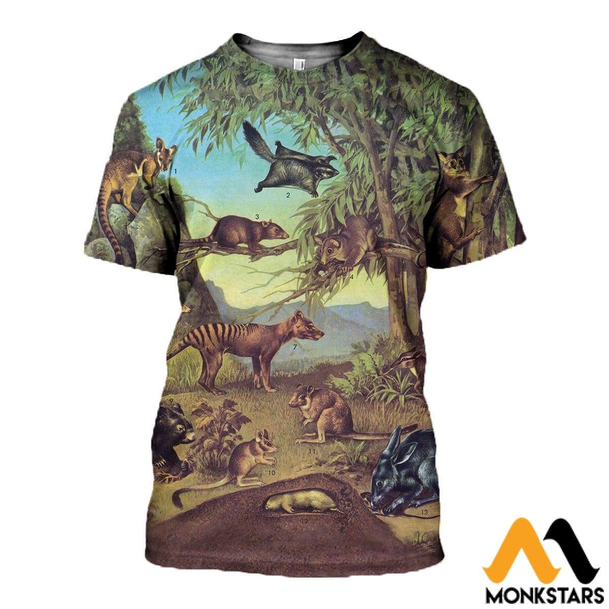 3D All Over Printed Marsupial Animals Shirts And Shorts T-Shirt / Xs Clothes