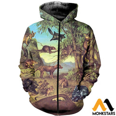3D All Over Printed Marsupial Animals Shirts And Shorts Zipped Hoodie / Xs Clothes