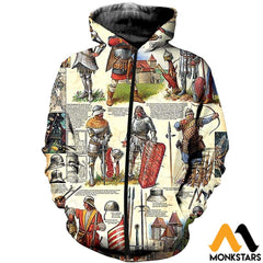 3D All Over Printed Medieval Troops Shirts And Shorts Zipped Hoodie / Xs Clothes