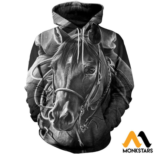 3D All Over Printed Mono Horse Art Shirts And Shorts Normal Hoodie / Xs Clothes
