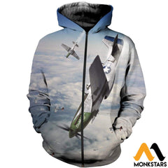 3D All Over Printed Mustang-P51 Clothes Zipped Hoodie / Xs