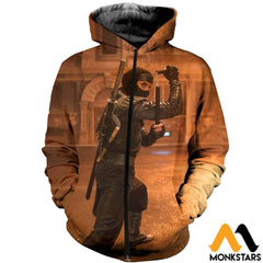 3D All Over Printed Ninja Clothes Zipped Hoodie / Xs