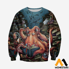 3D All Over Printed Octopus And Books Shirts And Shorts Long-Sleeved Shirt / Xs Clothes