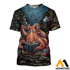 3D All Over Printed Octopus And Books Shirts And Shorts T-Shirt / Xs Clothes