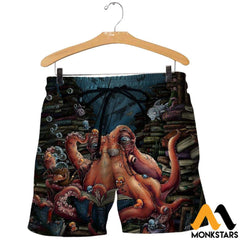 3D All Over Printed Octopus And Books Shirts And Shorts / Xs Clothes