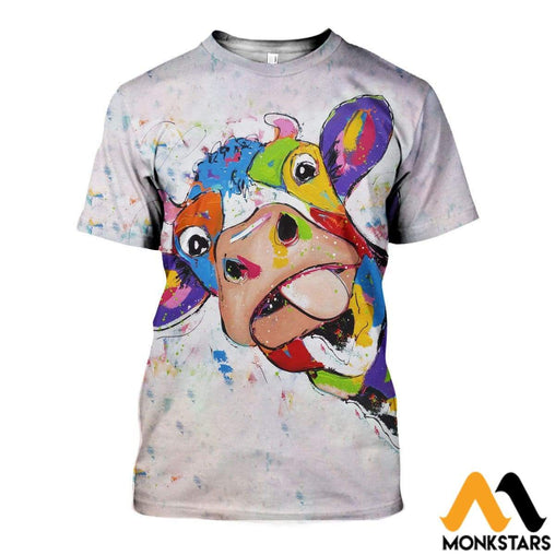3D All Over Printed Oil Painting Cow Shirts And Shorts T-Shirt / Xs Clothes
