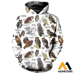3D All Over Printed Owls Of The World Shirts And Shorts Normal Hoodie / Xs Clothes