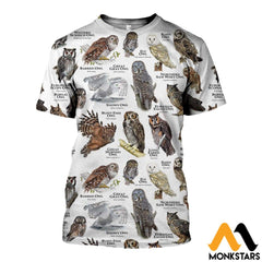 3D All Over Printed Owls Of The World Shirts And Shorts T-Shirt / Xs Clothes