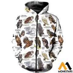 3D All Over Printed Owls Of The World Shirts And Shorts Zipped Hoodie / Xs Clothes