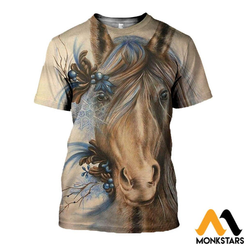 3D All Over Printed Painting Horse T-Shirt Hoodie / Xs Clothes