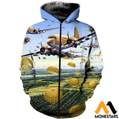 3D All Over Printed Paratrooper Clothes Zipped Hoodie / Xs