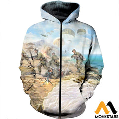 3D All Over Printed Paratrooper Shirts And Shorts Zipped Hoodie / Xs Clothes