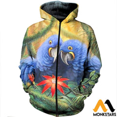 3D All Over Printed Parrot Clothes Zipped Hoodie / Xs